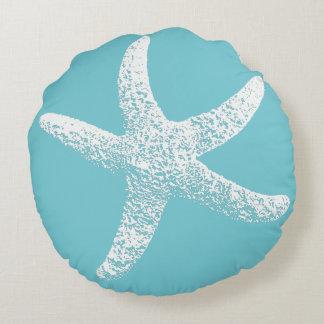 Blue and White Starfish Round Pillow