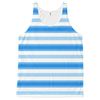 Blue and White Stripe All-Over-Print Tank Top
