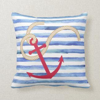 Blue and white stripe nautical pillow