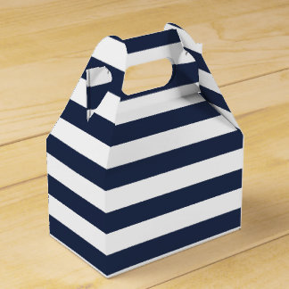 Blue And White Stripe Nautical Wedding Party Favor Favor Box