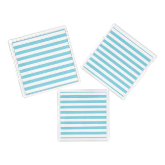 Blue and White Stripe Pattern Acrylic Tray