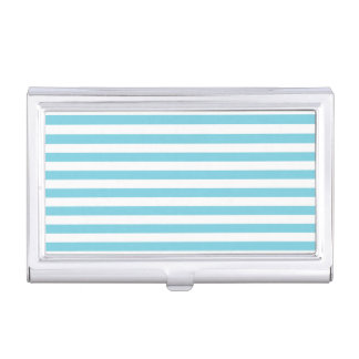 Blue and White Stripe Pattern Business Card Holder