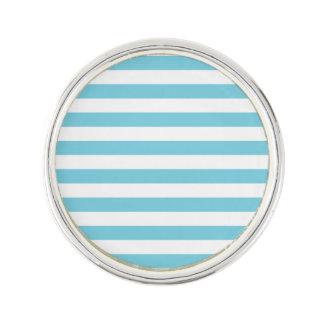 Blue and White Stripe Pattern Lapel Pin
