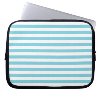 Blue and White Stripe Pattern Laptop Computer Sleeve