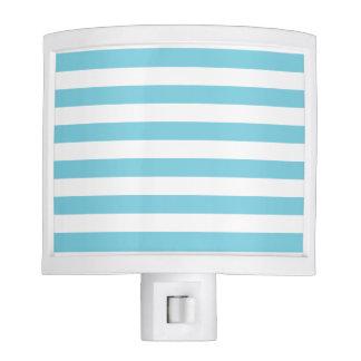 Blue and White Stripe Pattern Nite Lite