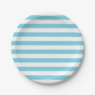 Blue and White Stripe Pattern Paper Plate