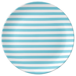 Blue and White Stripe Pattern Plate