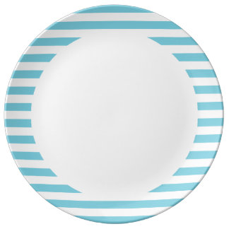 Blue and White Stripe Pattern Porcelain Plate