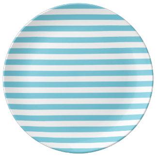 Blue and White Stripe Pattern Porcelain Plates