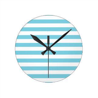 Blue and White Stripe Pattern Round Clock