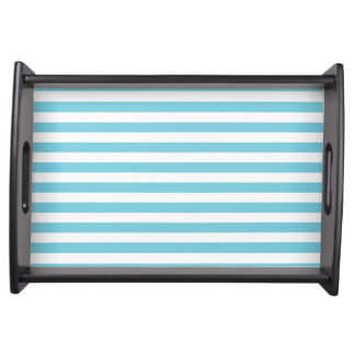 Blue and White Stripe Pattern Serving Tray