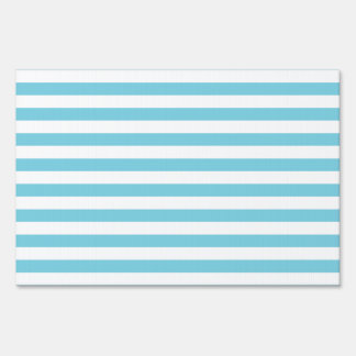 Blue and White Stripe Pattern Sign