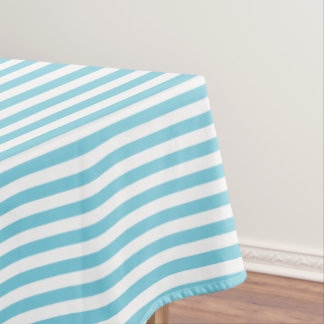 Blue and White Stripe Pattern Tablecloth
