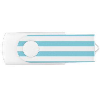 Blue and White Stripe Pattern USB Flash Drive