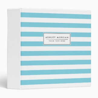 Blue and White Stripe Pattern Vinyl Binder