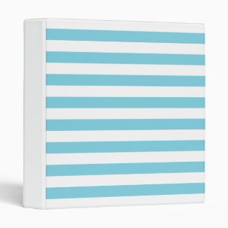 Blue and White Stripe Pattern Vinyl Binder
