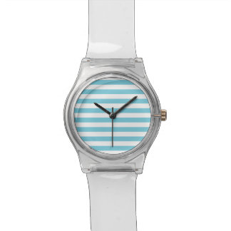 Blue and White Stripe Pattern Watch