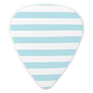 Blue and White Stripe Pattern White Delrin Guitar Pick