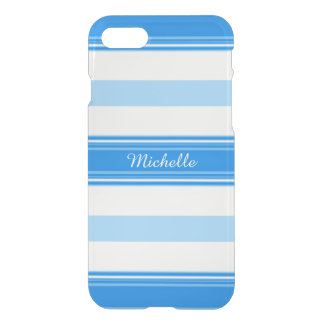 Blue and White Stripe Personalized iPhone 8/7 Case