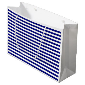 Blue and White Striped Gift Bag