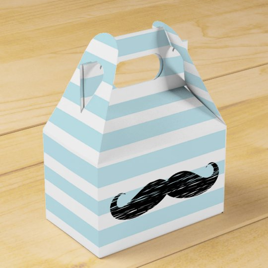 Blue and White Striped Moustache Candy Treat Box Party Favor Box