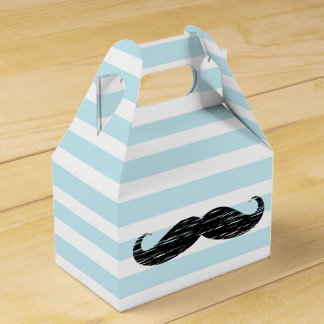 Blue and White Striped Mustache Candy Treat Box