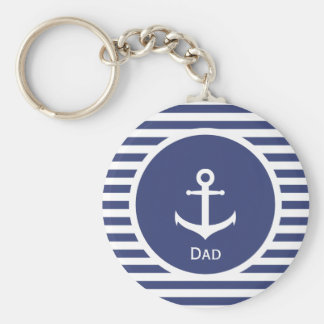 Blue and White Striped Nautical Dad Keychain