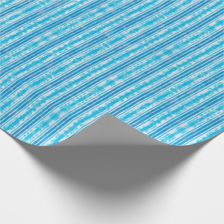 Blue and White Striped Pattern Wrapping Paper