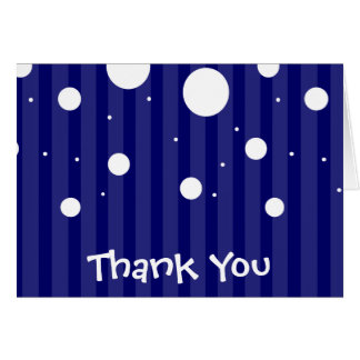 Blue and White Stripes and Polka Dots Card