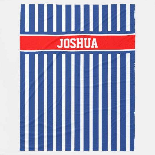 Blue and White Stripes Fleece Blanket