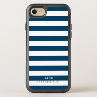 Blue and White Stripes With Custom Name OtterBox Symmetry iPhone 8/7 Case