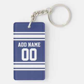Blue and White Stripes with Name and Number Double-Sided Rectangular Acrylic Keychain
