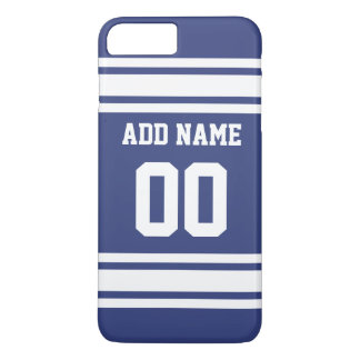 Blue and White Stripes with Name and Number iPhone 7 Plus Case
