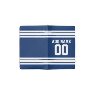 Blue and White Stripes with Name and Number Pocket Moleskine Notebook