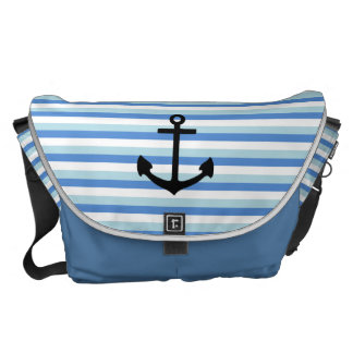 Blue and white strips, Fun, Anchor Messenger Bag
