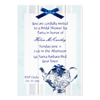 Blue and White Tea Party Bridal Shower Invitation