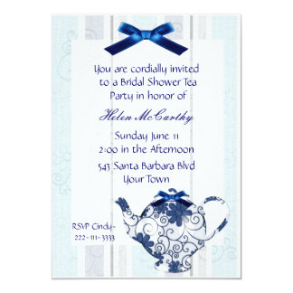 "Blue and White Tea Party Bridal Shower Invitation 5"" X 7"" Invitation Card"