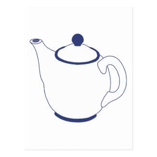 Blue and White Teapot Postcard