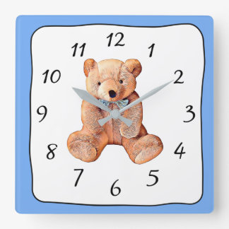 Blue and White Teddy Bear Square Clock