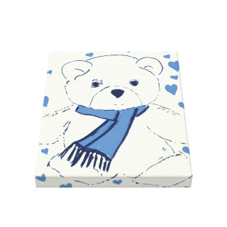 Blue and White Teddy Bear Stretched Canvas Print
