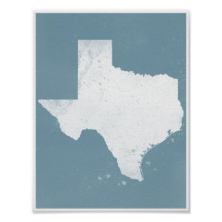 Blue and white Texas Poster