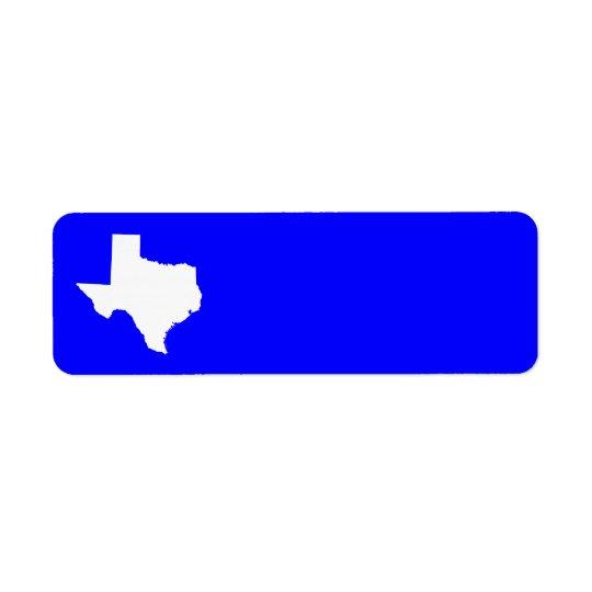 Blue and White Texas Return Address Label