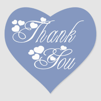 Blue And White Thank You Love Hearts - Wedding Heart Sticker