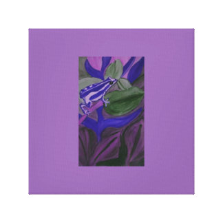 Blue and white tree frog on a purple background. canvas print