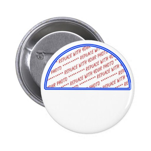 Blue and White Trimmed Photo Template Pinback Buttons