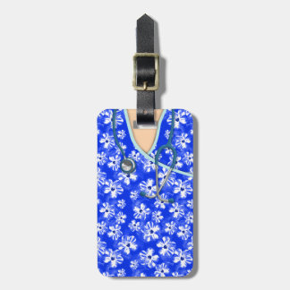 Blue And White Tropical Medical Scrubs Luggage Tag