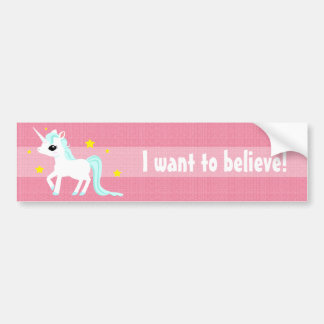 Blue and white Unicorn stars customisable Bumper Sticker