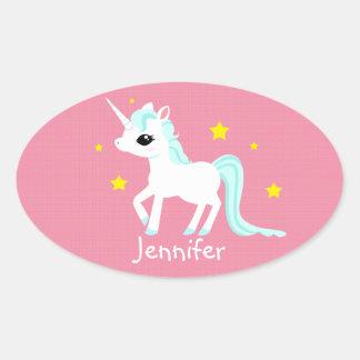 Blue and white Unicorn stars customisable Oval Sticker