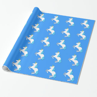 Blue and white unicorn wrapping paper