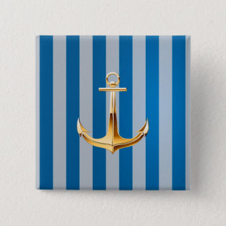 Blue and White  Vertical Lines and Gold Anchor 2 Inch Square Button
